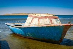 Fishing boat on the North Aral Sea in Tastubek village, Aral district