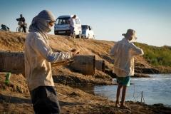 Seventh graders fish in Fishermen's Lake